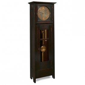 """Gustav Stickley Tall Case Clock, #3 21.5""""w X 13.25""""d X"""