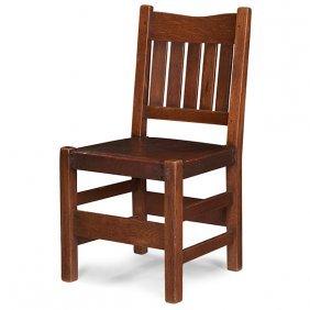 "Gustav Stickley V-back Side Chair, #354 19""w X 17""d X"