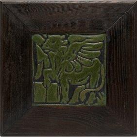 "Grueby Faience Company Tile Image: 8""sq; Overall: 14""sq"