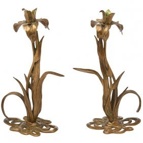 "Art Nouveau Iris Candlesticks, Pair 7""w X 11.5""h"