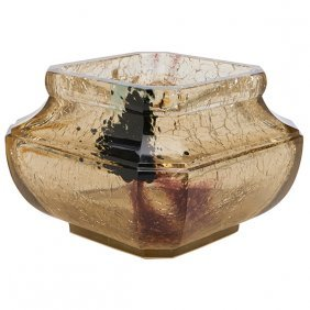 "French Art Deco Vase 5.25""sq X 4""h"