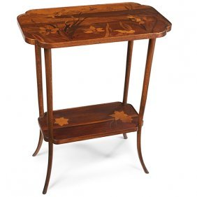 """Emile Galle (1846-1904) Occasional Table 23.75""""w X 14""""d"""