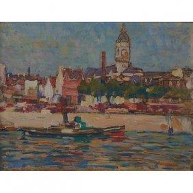 Roy Henry Brown, (american, 1879-1956), Paris, Oil On