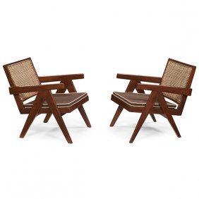Pierre Jeanneret (1896-1967) Easy Armchair, Pair, Model