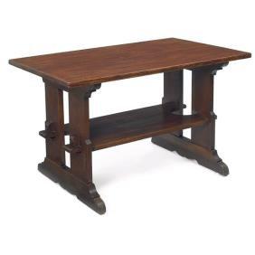 L & JG Stickley Trestle Table, #593