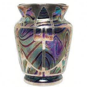 Loetz Vase, Large Form, Pampas Decoration
