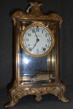 Vintage Bronze Regulator Empire Mantle Clock By Seth Th