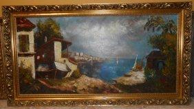 Oil Painting Of Mediterranean Village