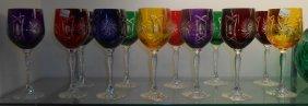 Set Of 12 Multi Color European Cut Crystal Wine Glasses