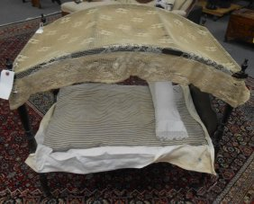Antique Miniature 4 Post Canopy Doll Bed
