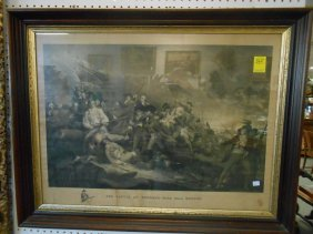 Antique Battle At Bunker's Hill Engraving