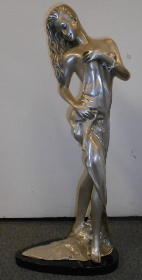 Silvered Bronze Semi-nude Woman On Marble