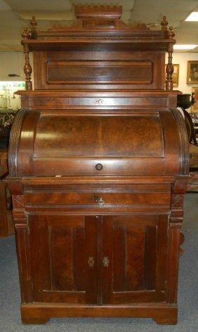 Antique Victorian Burl Walnut Cylinder Desk