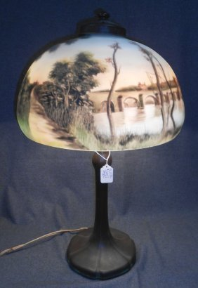 Antique Handel Reverse Painted Glass Table Lamp