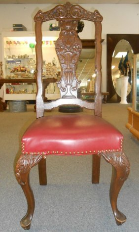 4 Antique Carved Mahogany Dining Chairs With Leather