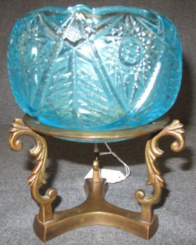 Fenton Art Glass Bowl On Brass Stand