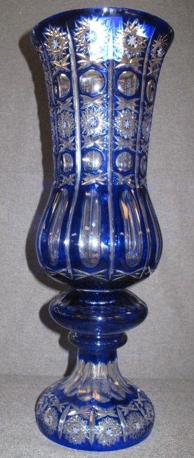 Tall Cobalt Blue European Cut Crystal Vase