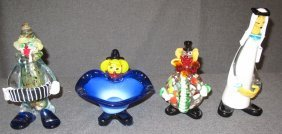 Lot Of 4 Murano Art Glass Clowns