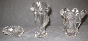 """3 Pieces Of French """"vannes"""" Crystal"""
