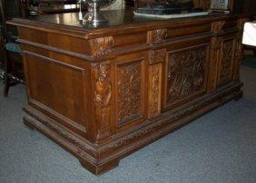 Magnificent Antique Carved Walnut Desk