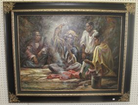 Large Oil Painting Of Native Americans