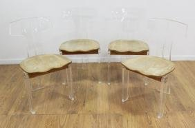 4 Modern Lucite & Oak T-Back Chairs