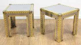 Pair Brass & Metal Campaign Side Tables
