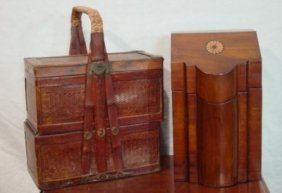 asian kitchen cabinets 403 wicker lunch box amp reproduction knife box lot 403 10775