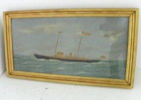 Thomas Willis Sailing Ship Watercolor,embroidery
