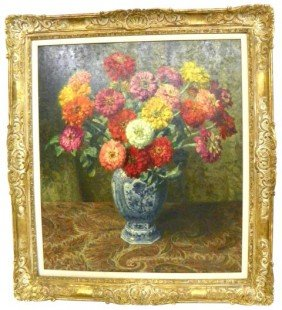 Oswald Poreau Flower Still Life Oil Painting