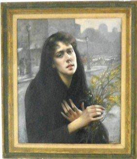 Maxime Dastague Woman In Paris Oil Painting