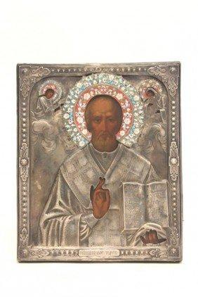 19thc Russian St. Nicholas Icon, Silver Frame