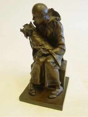 Jester With Baby Dog Bronze Sculpture