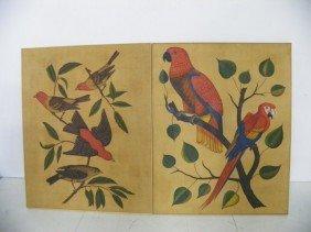 Pair Bird Oil Paintings