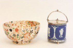Wedgwood Cracker Jar And Royal Cauldon Bowl