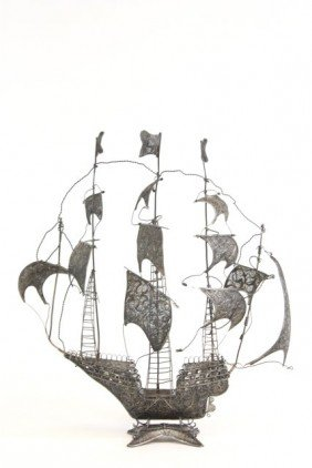 Large Silver Filigree Boat