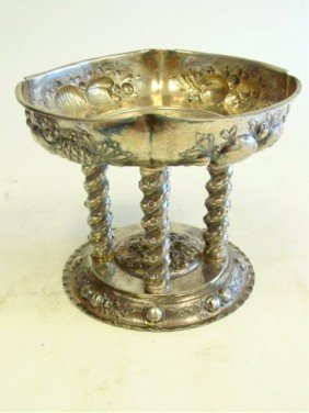 Very Ornate German 800 Silver Pedestal Bowl