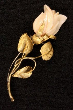 White Coral Rose Bud On Gold Stem With Leaves