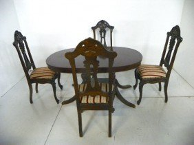 Oval Mahogany Table & 4 Heavily Carved Oak Chairs