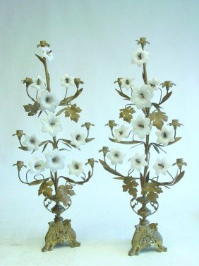 Pair Bronze & Milk Glass 7 Light Candelabrum