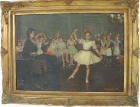 "Oil Painting Signed In Russian ""The Ballet Class"""