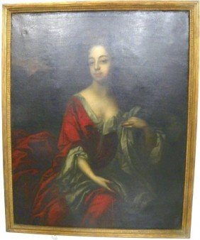 "18th C. ""Portrait Of Seated Woman In Red"""