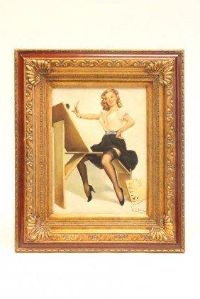 "Oil Painting ""Pin Up Girl"" Signed J.R. Edgar"