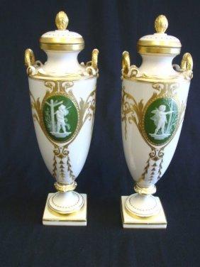 1421: Pair 19thc. Minton pate sur pate vases : Lot 1421