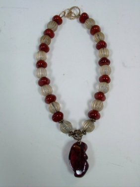 Amber Beaded Ruth Frank Necklace