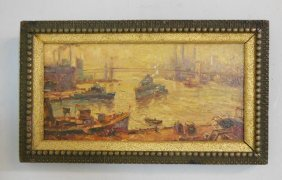 "Oil Painting Depicting ""NYC Harbor"""