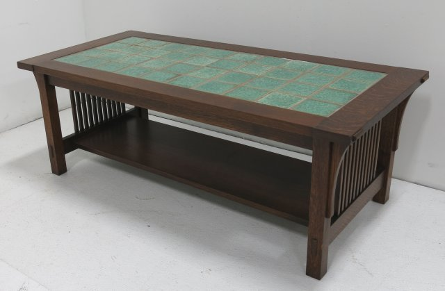 Stickley Style Mission Oak Coffee Table W Tile Top Lot 1120