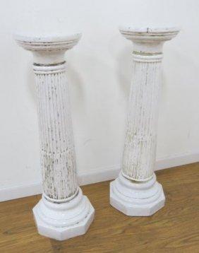 Pair Faience Pedestals