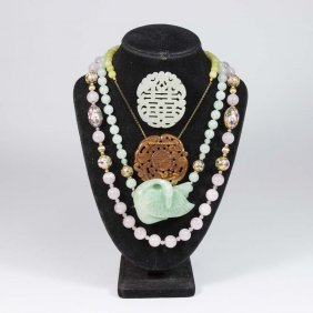 3 Chinese Beaded Necklaces & Carved Jade Pin