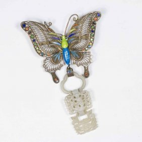 Chinese Gilt Silver Butterfly & White Jade Pendant